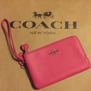 Coach double zipper Wristlet